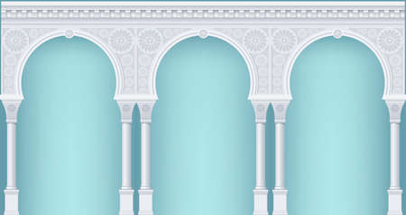 indian traditional: Palace Arcade in an old oriental style. Facade of a classical building. Vector graphics