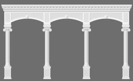 arcade: Antique white arcade with Ionic columns. Three arched entrance or niche. Vector graphics