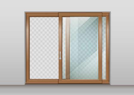 Houten schuifdeur Vector Illustratie
