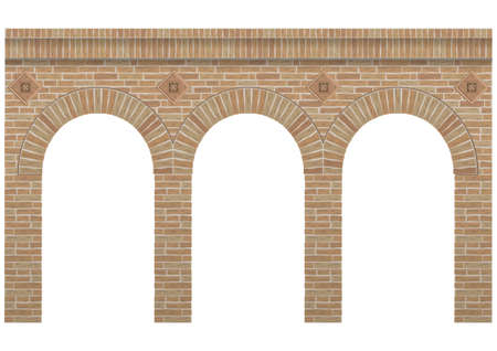 Vintage arcade of the masonry. Wall and facade of the old brick. Vector graphics Illusztráció