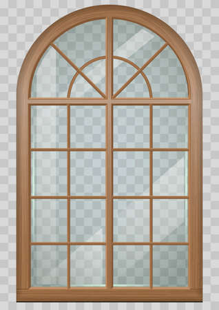 Classic arched window of wood in medieval style for the church or castle. Vector graphics