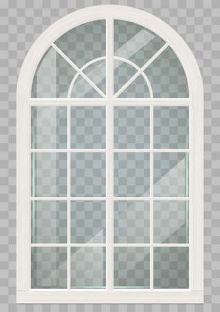 中世風の教会や城の木の古典的なアーチ型の窓。ベクトル グラフィック