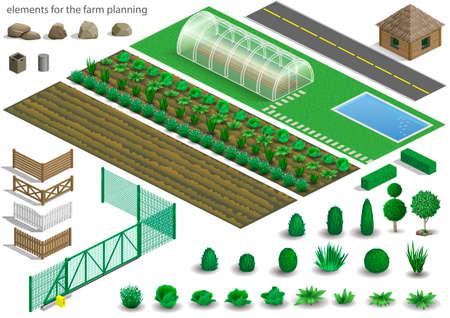 Ensemble d'éléments pour une ferme de projet ou de schéma. Bâtiments, clôtures et jardin avec des plantes, des légumes. Graphiques vectoriels. Isométrie architecturale Banque d'images - 72406458
