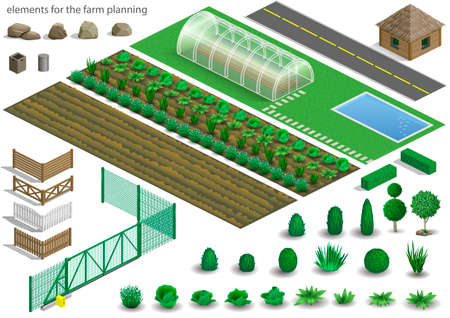 Set of elements for a project or scheme farm. Buildings, fences and garden with plants, vegetables. Vector graphics. Architectural isometrics Vettoriali