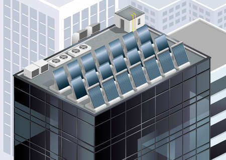 panels: Solar panels on the roof of a skyscraper. Alternative energy. Vector graphics Illustration