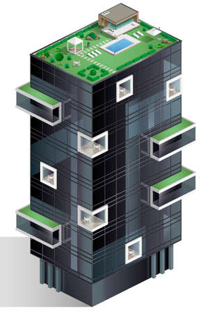 Ecological residential multi-storey complex or hotel. Isometric diagram of vector graphics.