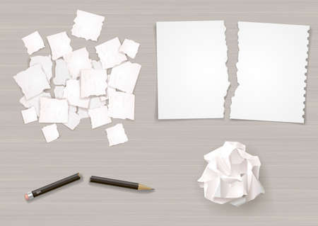 ball lump: Set of different crumpled and torn sheets of paper. Broken pencil. Vector graphics.
