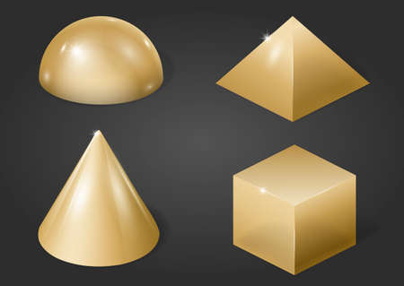 Set of different gold metal shapes on a grey background