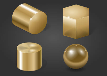 Set of different gold metal shapes on a black background