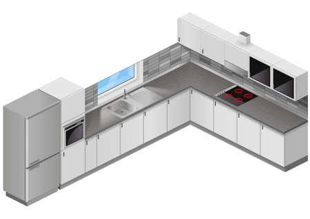 Modern white kitchen in isometric projection. Design scheme of interior furniture. Vector graphics