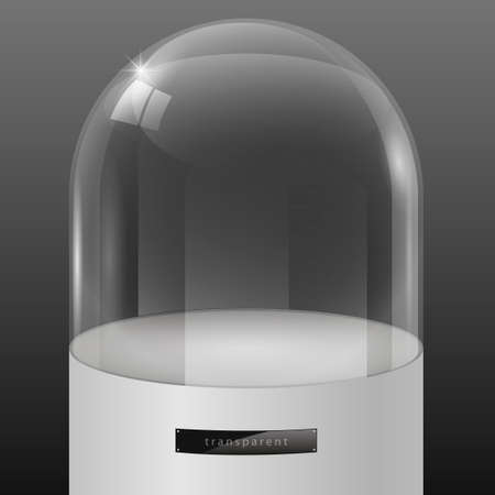 insulated: Showcase of glass in the form of a cap on the podium. Exposition of jewelry. Vector graphics with the effect of transparency. Retail store equipment Illustration