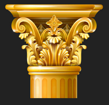 Golden Capital of the Corinthian column in the Baroque style, Classical architectural support Vector graphics Illustration