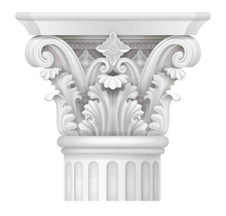 Weiße Hauptstadt der korinthischen Säule, klassische architektonische Unterstützung Vektor Grafiken