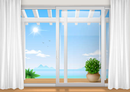 Sliding window of the hotel. View of the tropical bay. Resort. Vector graphics