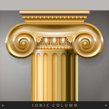 Golden Capital of the Corinthian column in the Baroque style. Classical architectural support. Vector graphics 矢量图像