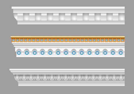 Een reeks klassieke kroonlijsten voor de muren van gebouwen. Stucco molding. Vector graphics