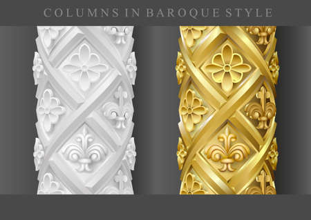Columns in the baroque style. Set of white stone and gold. Architectural details in vector graphics