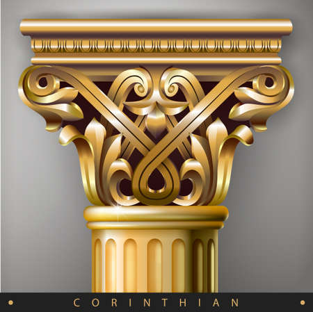 Golden Capital of the oriental column in the Corinthian style. Classical architectural support. Vector graphics