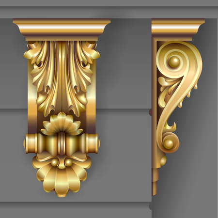 Gold Architectural bracket from facade in classic baroque style for the building. Vector graphics. Illustration