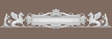 Wapen van architectonisch element, bas-reliëf voor een gebouw, ramen of deuren in de barokstijl. Vectorafbeeldingen. Element van de dekking. Klassieke details.