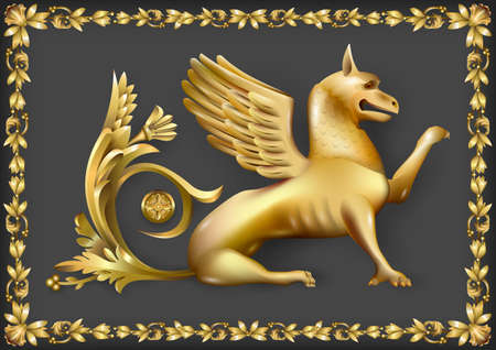 Emblem or fresco, high relief with golden gryphon. Vector graphics