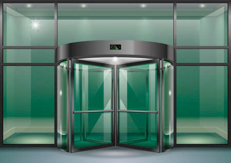 The facade of a modern shopping center or station, an airport with revolving doors. Vector graphics Vectores