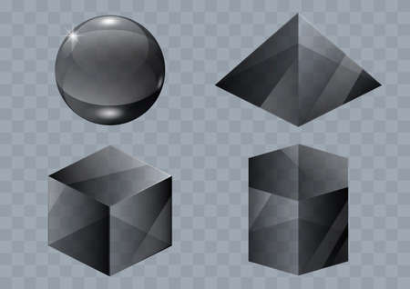 reflection in mirror: Set of black glass forms of a pyramid, a sphere and a cube. Vector graphics with transparency effect