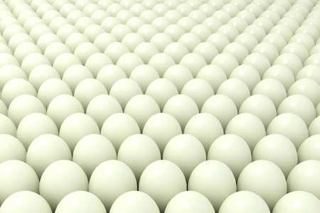 Abstract background of balls or set of chicken eggs. 3d illustration Standard-Bild