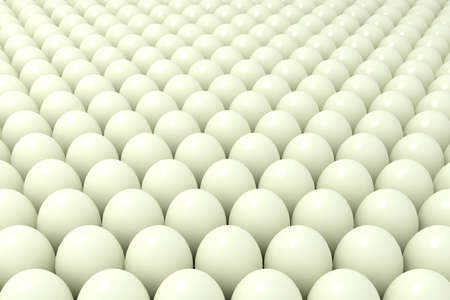 Abstract background of balls or set of chicken eggs. 3d illustration Archivio Fotografico