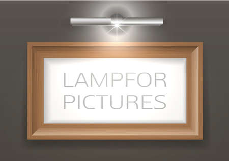 metall lamp: Lamp for a picture and a picture in a wooden frame on the wall. Light with transparency effect