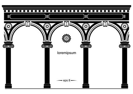 Silhouette of arched classical facade. Background for cover, invitation cards. Vector graphics
