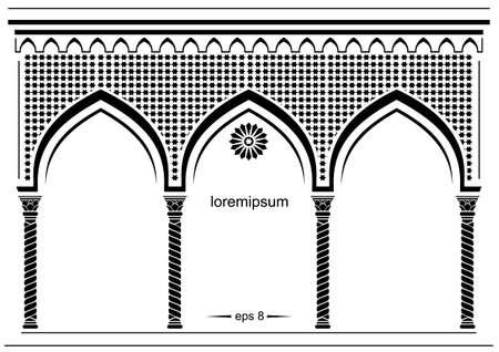 アーチ型の東部正面のシルエット。カバー、招待状のアーチ、背景をおとぎ話東洋、インドやアラビア。ベクトル グラフィック  イラスト・ベクター素材
