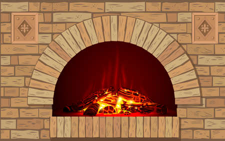 An ancient brick hearth with fire.