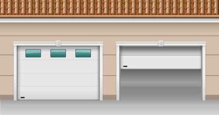 sectional door: Modern garage gates for the house. Illustration