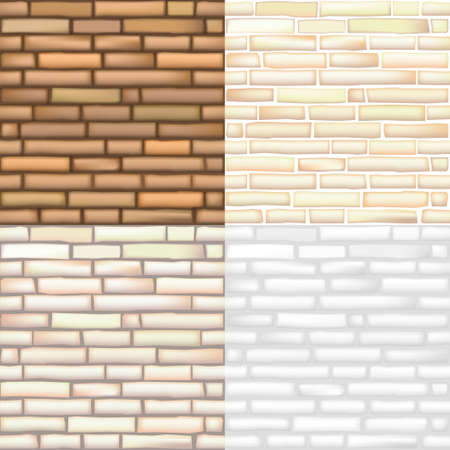Set of seamless textures of old bricks in vector graphics Ilustração
