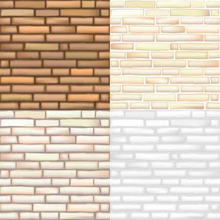 Set of seamless textures of old bricks in vector graphics Illusztráció