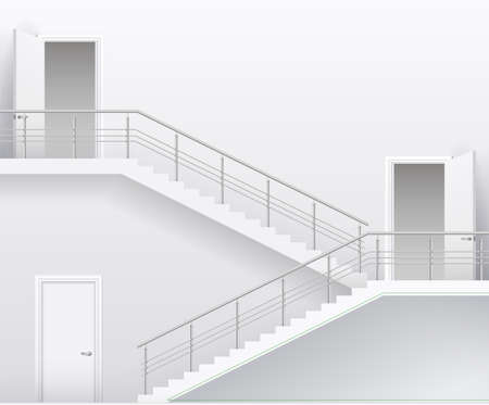 handrail: Interior bright white room with stairs and doors. Vector graphics