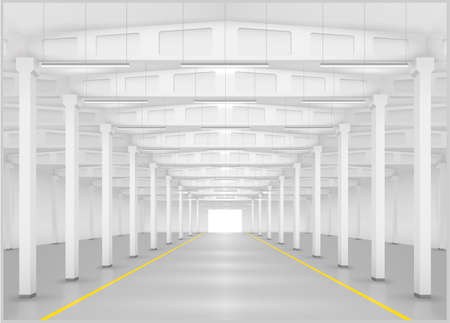 empty warehouse: Interior of a large factory or warehouse, logistics center. Industrial building. Vector graphics Illustration