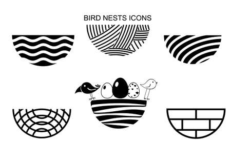 Set icons Birds Nest for a logo or emblem in the technique of sketching. Vector graphics. Two funny birds and eggs. Ilustração