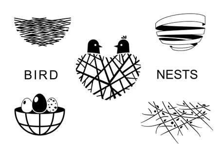Set icons Birds Nest for a emblem in the technique of sketching. Vector graphics. Two funny birds and eggs.