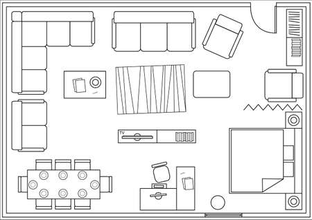 drawing furniture plans. Set Of Icons For Architectural Plans. Drawing Furniture Living Room,  Bedroom, Dining Room Drawing Plans A