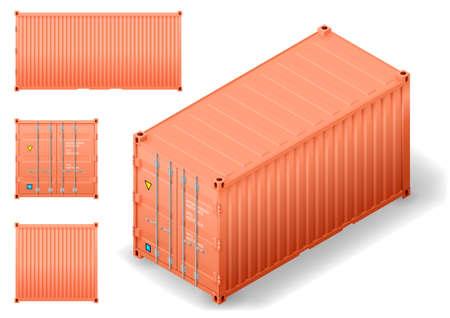 Isométrie du conteneur maritime de transport de marchandises. Dessin de graphiques vectoriels avec façades. Vecteurs