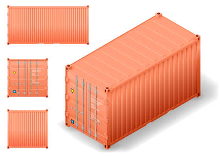 Isometry of cargo transport sea container. Drawing in vector graphics with facades. Illustration