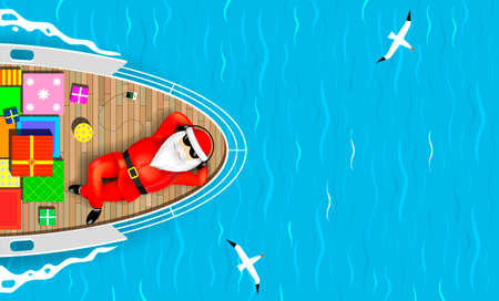 Santa Claus is swimming on a yacht lying on the deck with a bunch of gift boxes. Sea waves and seagulls around. Vector graphics. Stock Illustratie