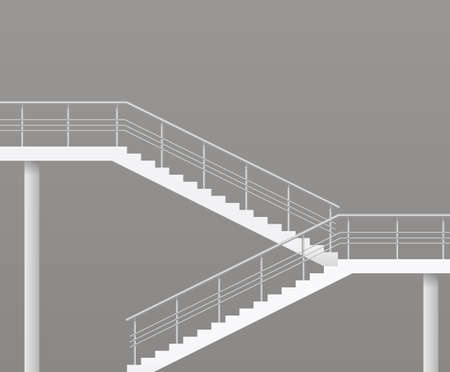 stage door: Modern staircase with metal railings. Vector graphics