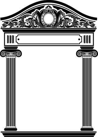 Classic antique portal with columns in vector graphics Illustration