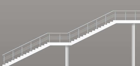 Modern staircase with metal railings. Vector graphics