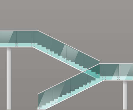 ladder  fence: Modern staircase with glass railings. Vector graphics Illustration