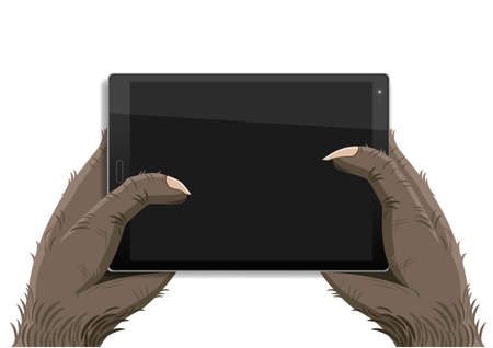 A monkey or a monster holds a tablet in his hands. Vector graphics