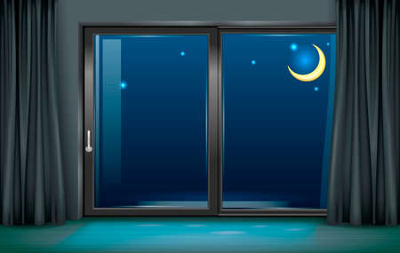 Intérieur moderne avec fenêtre panoramique et vue de nuit. Banque d'images - 86277401